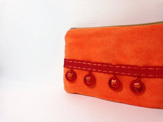 Small Zippered Pouch Small Wallet Small Coin Purse Orange Ultra Suede with Trim