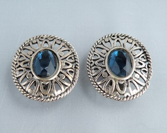 Earrings Silver Colored Metal with Blue Cabochon Vintage 1970's