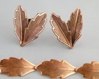 Vintage Copper Jewelry Bracelet and Earrings