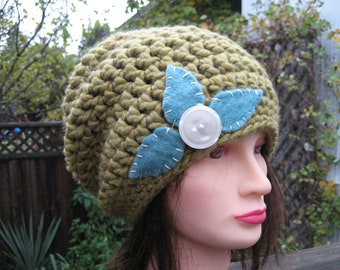 Olive Crocheted Slouch Hat 125/12