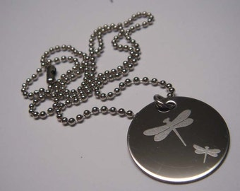 Dragonflies- engraved Necklace-pendant-Dragonfly for luck and freedom.Stainless steel