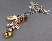 Yellow Gold Citrine Dangle Necklace Red Garnet Pyrite Mixed Metals, Orange Fire Opal, Colorful Dangle Necklace