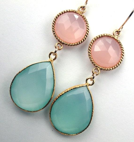 Pink Green Chalcedony Long Dangle Earrings 18k Gold Vermeil Bezel Set Gemstones Double Dangle Spring 2013 Fashion -  Lena