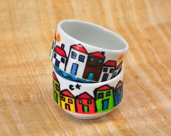 Decorative Porcelain Bowls, Hand Painted Small Bowl, Colorful Houses, Saucer, Two pieces
