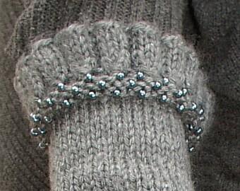 Beaded ruffled hand knit fingerless gloves grey