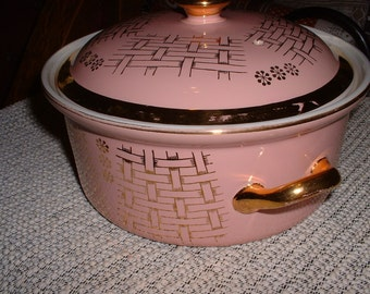 Vintage Pink Gold Trimmed Hall Covered Casserole with handles 1950s