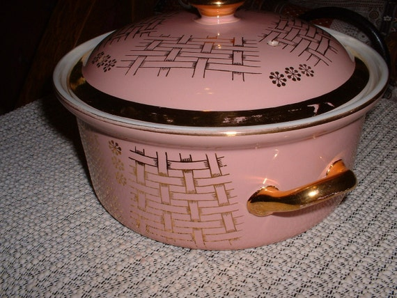 Reserved Vintage Pink Gold Trimmed Hall Covered Casserole with handles 1950s