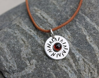 You are my Sunshine silver necklace. Garnet. Birthstones. Sun. hand stamped. sterling silver sun pendant. natural brown leather. OOAK