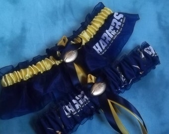 Handmade wedding garters keepsake and toss San Diego CHARGERS wedding garter set