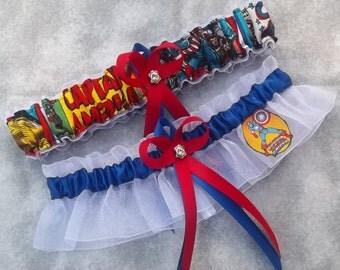 Handmade wedding garters keepsake and toss CAPTAIN AMERICA Marvel Super Hero wedding garter set