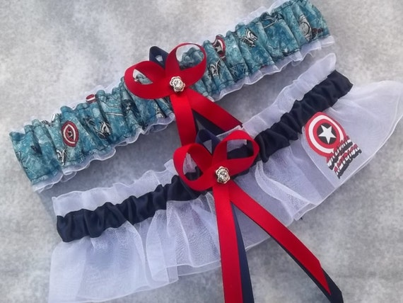 Handmade wedding garters keepsake and toss CAPTAIN AMERICA Marvel Super Hero wedding garter set