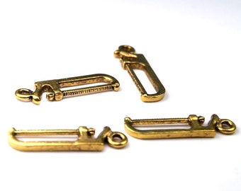 Handsaw Saw charm gold tone alloy metal  - 6 pcs