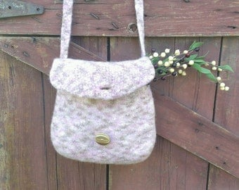 Wool felted purse hand knit pink and coco brown