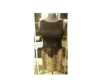 Vintage Leopard zoo animal print mini skirt and fringe top 80s rocker costume party wear SALE