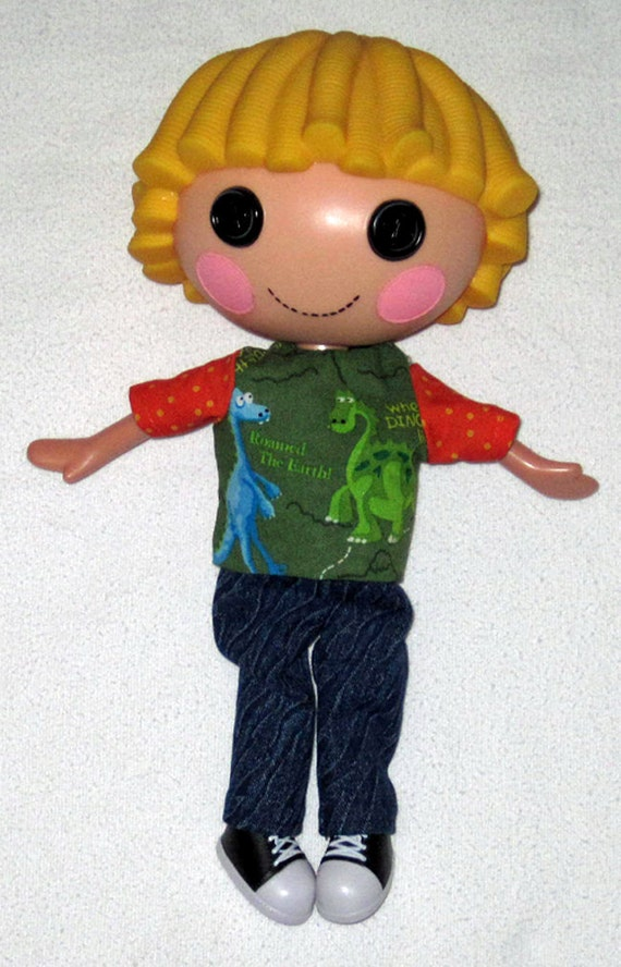 """Lalaloopsy doll clothes for 12"""" doll  Dinosaur Top and Blue Jeans  For Boy or Girl Doll"""