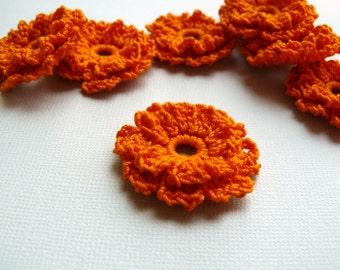 8 Crochet Flower Appliques -- Orange Marigolds