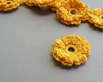 8 Crochet Appliques -- Marigold Flowers, in Gold