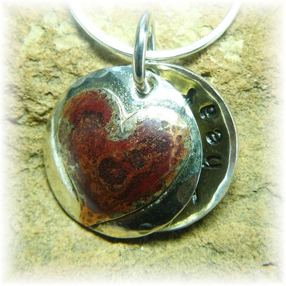 In My Heart- Personalized Locket Pendant and Chain - Sterling Silver and Rustic Copper- Mommy Love, Grandmother, Anniversary Date- Handmade