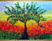 Tree Landscape Painting Original Modern Abstract OLIVE Landscape Whimsical Large Painting 40x30 by Luiza Vizoli