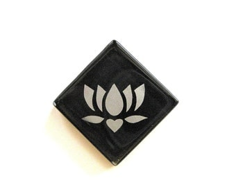 Lotus Magnet Silver Etched Black Glass MosaicTileThe Lotus - Butterfly Project