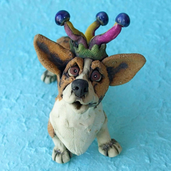 Corgi Dog in Jester Hat Ceramic Sculpture