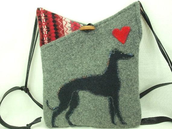 Grey Hound Shoulder Bag  Felt Messenger Bag Light Grey Whippet Applique Adjustable Leather Strap Upcycled Eco-Friendly