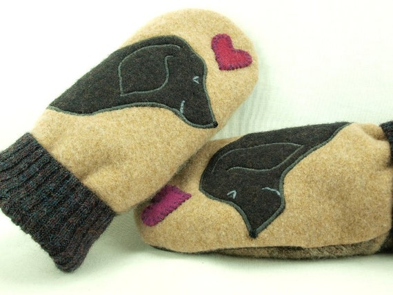 Mittens Felted Wool Labrador Retriever Mittens Eco Friendly Mittens Beige Black and Pink  Fleece Lining Suede Palm Eco Friendly