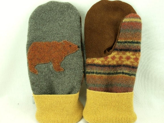 Men Felted Wool Mittens Bear Sweater Mittens Grey,  Brown and Yellow Bear Applique Fleece Lining Leather Palm Eco Friendly Upcycled