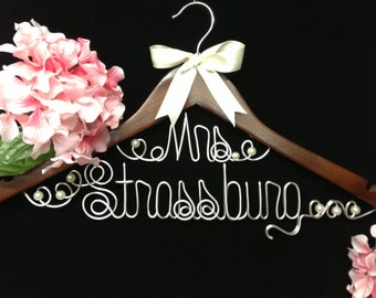 Personalized Bride hanger for wedding dress  Original Unique Wired Art design PEARLS and ribbon accents included