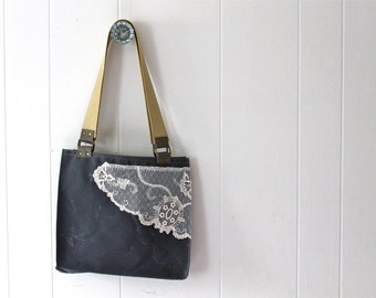 Waxed Canvas Tote Bag with Vintage Lace - Steel Grey