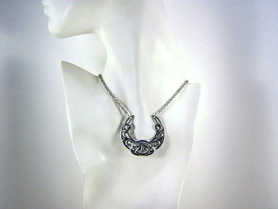 Celtic Crescent Necklace Silver Plated Entwined Vine Floral Motif on a Silver Plated Chain Art Nouveau Style