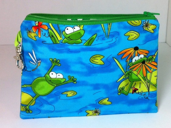 Lined Pencil Case/Notion Bag - Jumping Frogs