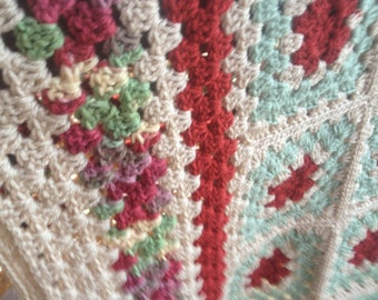 Christmas Rose Heirloom Quality Crochet Afghan FREE SHIPPING