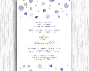 Wedding Invite - Purple and Green Polka Dots Printable