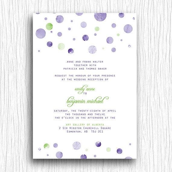 Wedding Invite - Purple and Green Polka Dots Printable