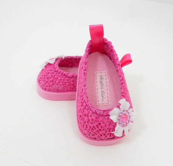 """American Girl 18"""" doll shoes pink """"LACE"""" slip on flats - by MegOri Girls Boutique"""
