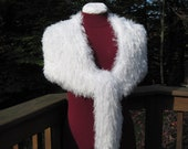 White Shaggy Furry Wrap Shawl