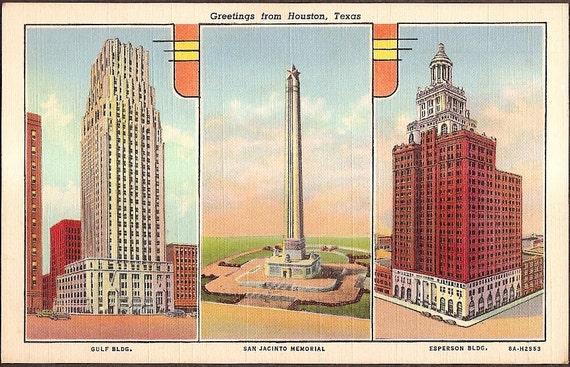 Houston, Texas Vintage Linen Multi-view Postcard - Gulf Building, San Jacinto Memorial, Esperson Building Unused