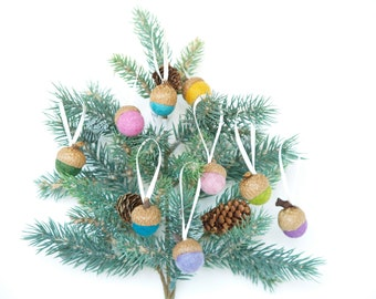 Acorn Ornaments, Christmas Decoraitons, Rustic, Eco Friendly Needle Felted Wool Acorns