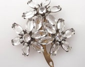 RESERVED for Sharon - Exceptional Antique Paste Rhinestone Daisy Fur Clip