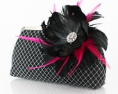 Black Clutch with Rhinestone Feather Flower in Black and Fuchsia - 8-inch PASSION etsygift