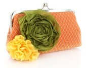 Tangerine Bridal Bridesmaid Clutch with Organza Rose brooch 8-inch PASSION