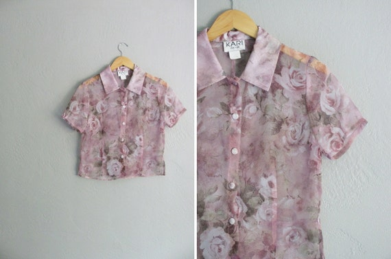 vintage '80s FLORAL DUSTY PINK sheer crop button-up top. size s m.