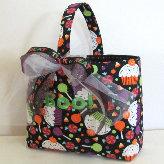 Personalized Trick or Treat Bag Halloween Basket Cupcakes and Candy