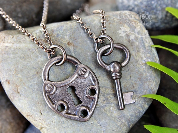 Key to My Heart Steampunk couples necklace set - gunmetal black large heart lock and key charms - two necklaces - free shipping USA