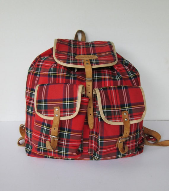 BagSac Red Plaid Backpack