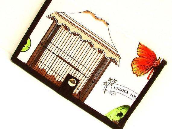 Knitting Pattern Holder -mi Pattern Wallet Supplies Chart Keeper with Extendor - Study of Birds Bird Cage