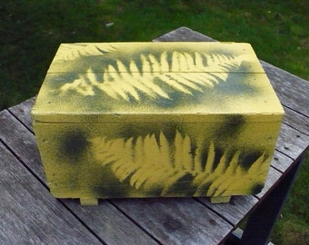 Small Hand-Painted box with woodland ferns design