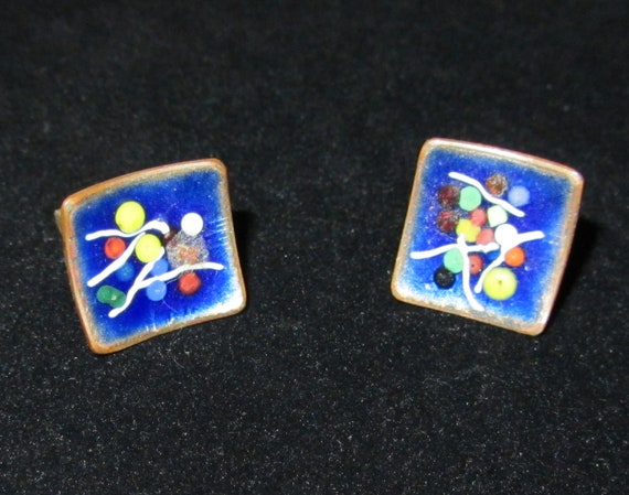 Copper and Enamel Mod Cufflinks - Vintage Antique