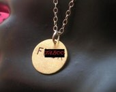 F .CK--Brass Disc Necklace, Circle Necklace, Round Charm Necklace, Brass Pendant, Mature, Metal Taboo
